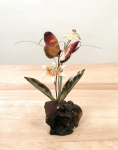 Bovano - FM16 - Magenta Butterfly and Flowers Tabletop Sculpture