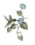 Bovano - W1402B - Ruby-Throated Hummingbird with Morning Glory Flowers