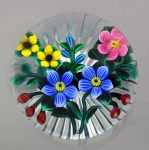 Bob Banford - Paperweight - Blue, Yellow & Pink Floral