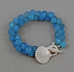 Betsy Frost Blue Chalcedony with Scallop Shell Bracelet - BSCLT