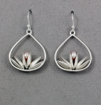 Betsy Frost - Lotus with Pink Pearl Earrings