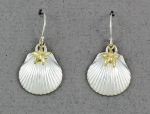 Betsy Frost - Scallop Dangle Earrings with Gold Sea Star ESCL-STS-2T