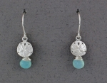 Betsy Frost - Sand Dollar Dangle Earrings with Aqua Chalcedony - ESS-AQ/C