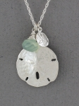 Betsy Frost - Sand Dollar Necklace with Green Chalcedony - PSL&S-GRN/C