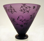 Correia Art Glass - Vase - Purple and Black Floral Footed Vase