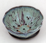Dirty Dog Pottery: Berry Bowl - Blue and Chocolate