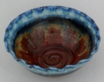 Dirty Dog Pottery: Bowl - Small Blue Rust & Yellow