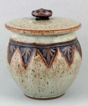 Dirty Dog Pottery: Jar - Tan Botanical with Lid