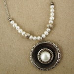 J & I Sterling Silver Necklace with Pearls - DPX49N