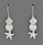Betsy Frost - Scallop, Sand Dollar & Sea Star Dangle Earrings - E3