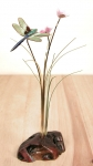 Bovano - FM52 - Small Dragonfly and Flowers on Manzanita Tabletop Sculpture