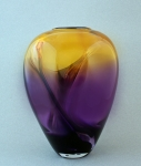 Glass Dancing - Amethyst/Amber Wave Vase