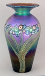 Hanson Art Glass:  Vase - Bronze Vase with Vines and Murrini