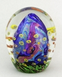 Hanson Art Glass - Paperweight: Cobalt Dicroic with Murrini