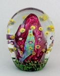 Hanson Art Glass - Paperweight: Cranberry Dicroic with Murrini