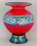 Hanson Art Glass:  Vase - Red Footed Vase with Murrini
