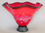 Hanson Art Glass:  Vase - Red Flutter Bowl with Murrini