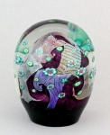 Hanson Art Glass - Paperweight: Amethyst Dicroic with Murrini