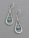 J & I Sterling Silver Earrings with Amonzonite Beads - AMT107E