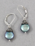 J & I - Leverback Earrings with Silver Coin Pearls - DG4E