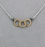 J & I Sterling Silver and 14k Gold Filled Interlocking Rings Necklace - GFX502N
