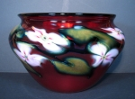Charles Lotton -  Large Selenium Red Pink Multi Flora Bowl
