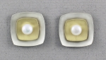 Mar of Santa Barbara: Sterling Silver & NuGold Post Earrings - EM169-PRL
