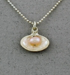 Betsy Frost - Pink Pearl in Clam Shell Necklace - P282