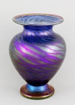 Opal Art Glass - Blue Luster Round Escher Vase