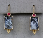 Patrick Murphy - Dendritic Quartz & Red Spinel Earrings 14028-18