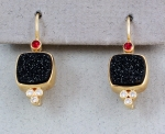 Patrick Murphy - Black Druse & Spinel Earrings 16136-01