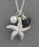 Betsy Frost - Sea Star Charm Necklace with Pearl and Laboradite - PSTL