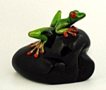 Abelman Sculpture: Green Frog on Black Rock