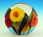 Scott Bayless - Paperweight - Orange, Red, & Yellow Calla Lily