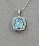 Stanton Color - Aquamarine & Diamond Pendant SC-13164-12