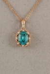 Stanton Color - Blue Zircon & Diamond Pendant SC - 17252-07