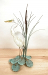 Bovano - T06 - Egret in Cattails Tabletop Sculpture