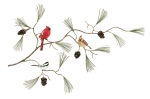 Bovano - W448 - Cardinals and Chickadee Pine Branch with Cones