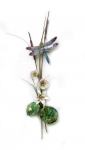 Bovano - W7627 - Blue Dragonfly with Flowers & Cattails