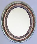 Zetamari Mosaic - Large Oval Mirror: Silver with Peach and Mauve ZM3