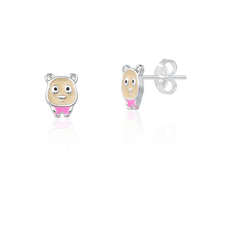 Brinco Infantil Urso Prata
