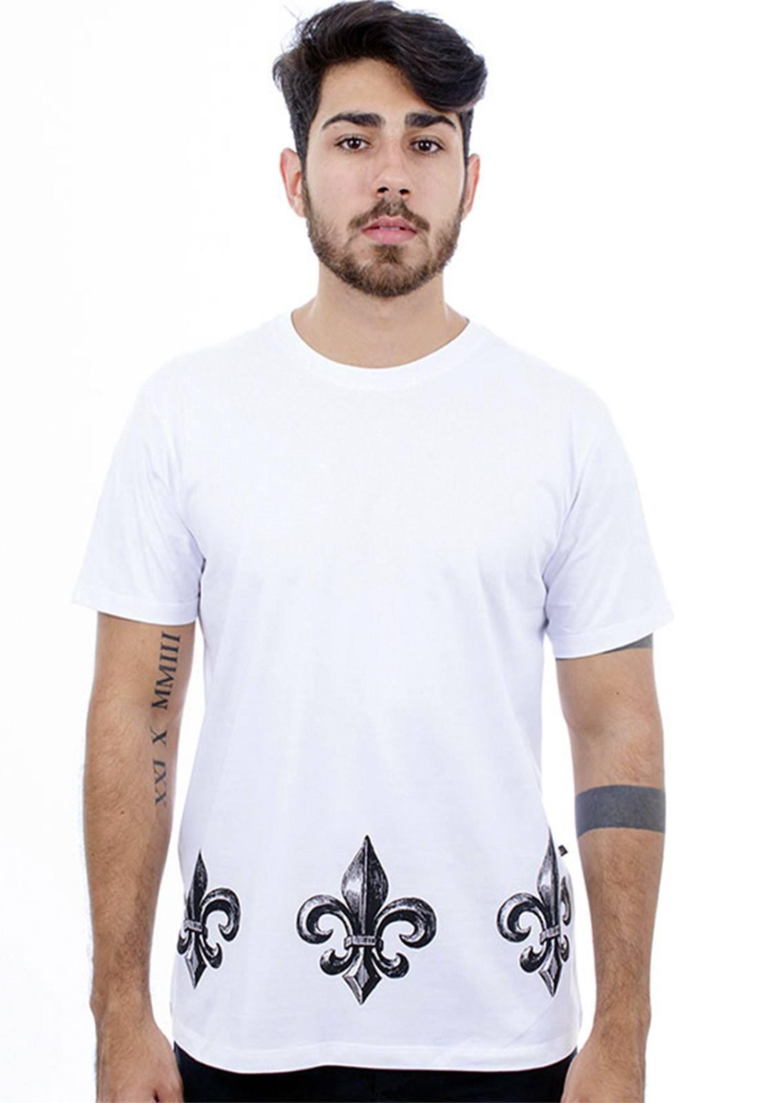 Camiseta Hardivision Flor De Lis Manga Curta Branco