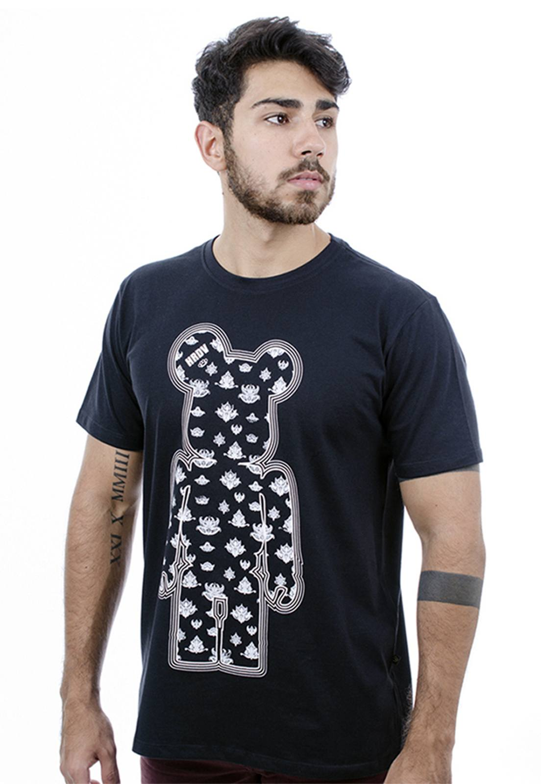 Camiseta Hardivision Indian Toy Art Manga Curta Preto