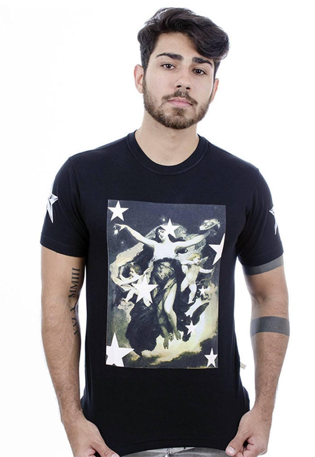Camiseta Hardivision Lady Of Stars Manga Curta Preto