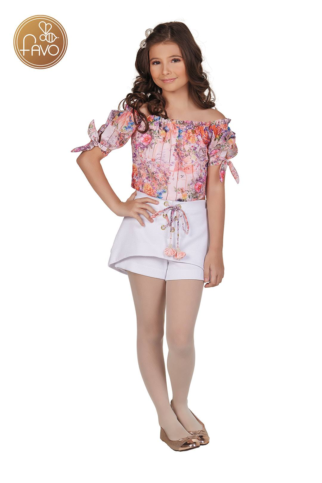 CONJ SHORT PIQUET BLUSA ESTAMPADA