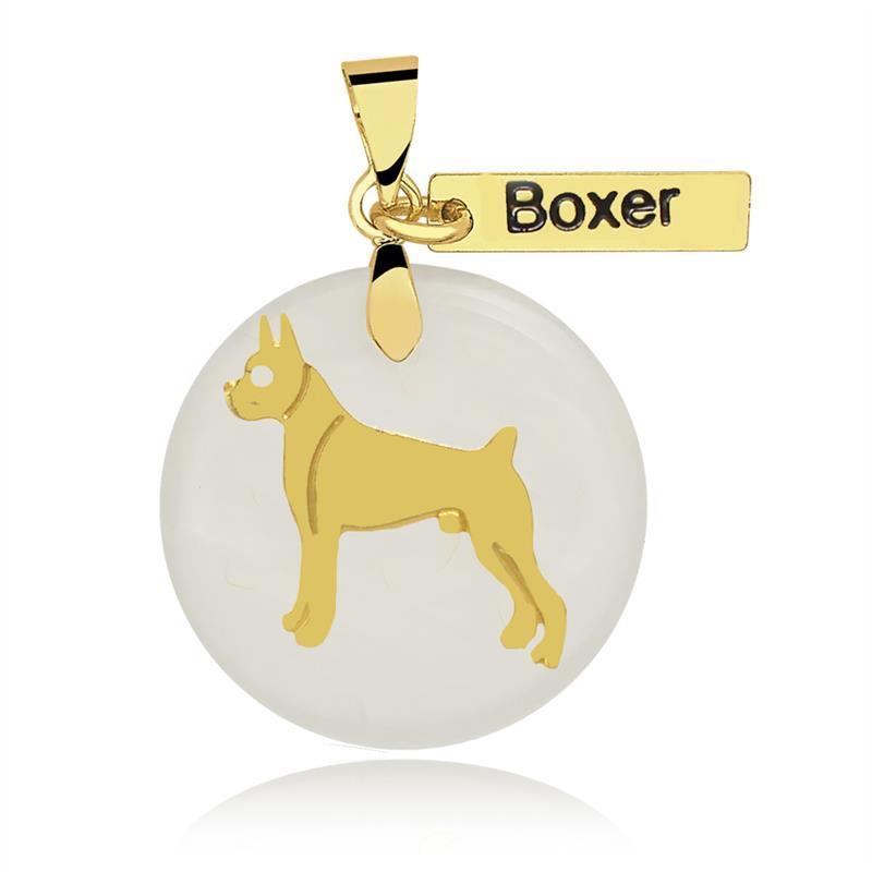 Pingente Boxer Folheado Ouro Com Acrílico