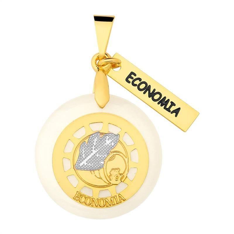 Pingente Economia Folheado Ouro Com Acrílico