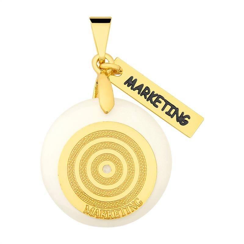 Pingente Marketing Folheado Ouro Com Acrílico