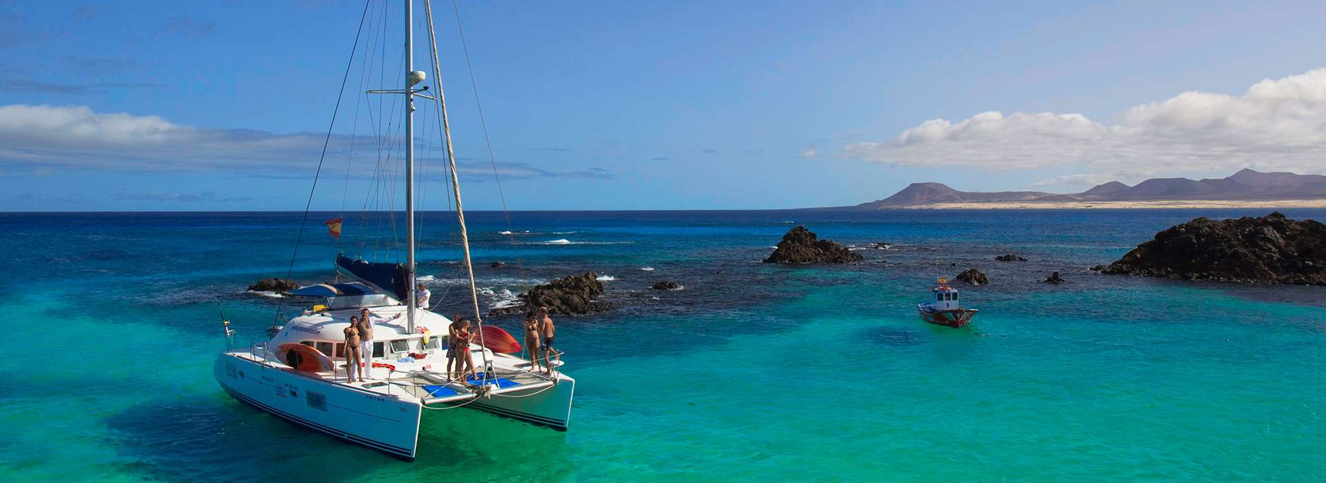 From Fuerteventura to Lanzarote in private catamaran