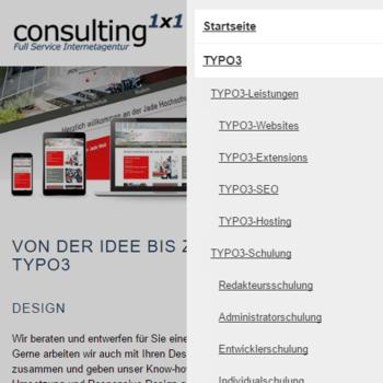 AMP Version der Consulting1x1 Webseite mit geöffneten Menü